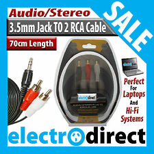 3.5mm Jack Plug To 2 RCA Component Plugs Audio Stereo Shielded Cable 70cm Long