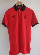 RALPH LAUREN S/S COTTON RED COLOGNE PROMO POLO SHIRT RED/BLACK w/BLACK PONY MED