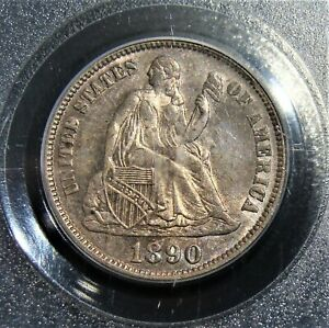 1890 Seated Liberty Dime PCGS MS-65. Superb Old Toning!!!