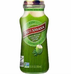 Taste Nirvana Real Coconut Water, Premium Coconut Water, 9.5 Ounce Glass Bott...
