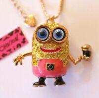 NEW! Betsey Johnson Crystal Rhinestone Enamel Minion Necklace Pendant