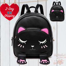 CUTE 3D CAT BACKPACK FASHION WOMEN GIRLS FUNNY TRAVEL SCHOOL BLACK BACKPACK