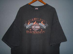 HARLEY DAVIDSON Motorcycle T-Shirt DURHAM NC Vtg BLACK Faded Biker USA 4XL 4X