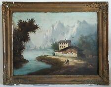 Tableau huile sur toile paysage lacustre montagnes chalet XIXème 19ème