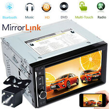 TouchScreen Car Stereo BT Radio FM AM USB AUX Media CD DVD Player Mirror For GPS