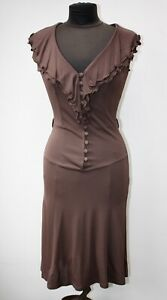 Y2K 90s Valentino Brown Crèpe Jersey Dress Size It 40,  EU 36, UK 8