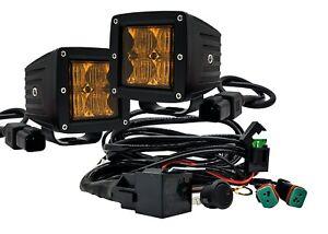 Amber LED Pod Ditch Fog Dust Light Kit Flood Beam Harness Offroad Truck X3 UTV