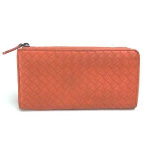 BOTTEGA VENETA Intrecciato L-shaped fastener Long Wallet Leather Orange