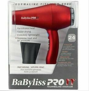 BABYLISS PRO TT RED 3000 TOURMALINE TITANIUM 6 SPEED HAIR BLOW DRYER # BABTT5585