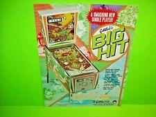 Gottlieb BIG HIT Original 1977 Arcade Pinball Machine Flyer Baseball Sports