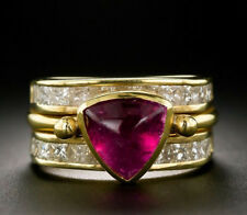 5Ct Trillion Cabochon Ruby Princess Simulant Diamond Ring Silver Yellow Gold FNS