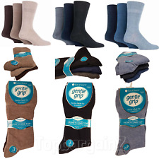 Mens Diabetic Socks Non Elastic Coloured Gentle Grip HoneyComb Top Soft Cotton