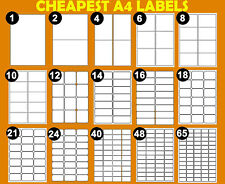More details for address labels a4 white sticky self adhesive sheets for inkjet / laser printers