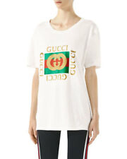 BNWT Authentic Gucci Square Glitter-Print Logo Oversized Fit T-Shirt Size XS