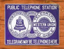TIN SIGN Western Union Telegraph Bell Telephone Vintage Retro Wall Decor