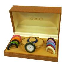 Authentic GUCCI Vintage Change Bezel Quartz Wristwatch Bangle Gold AK18418