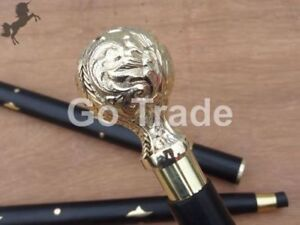 Vintage Solid Brass Design Ball Head Handle Black Wooden Cane Walking Stick Gift