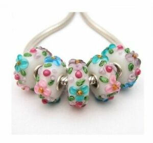 Pastel Floral Lampwork Glass S925 Sterling Silver European Bead Charm - Set of 5
