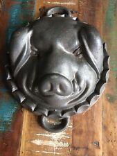 Vintage Cast Iron Pig Hog Head Baking Mold 6.5 LBS 8.75x10.75