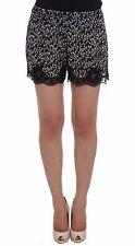 NWT $360 DOLCE & GABBANA Shorts Black White Floral Lace Silk Sleepwear IT2/US S
