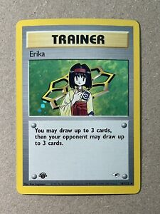 MINT 1st Edition Erika Trainer HOLO Gym Heroes Pokemon 16/132 PSA READY