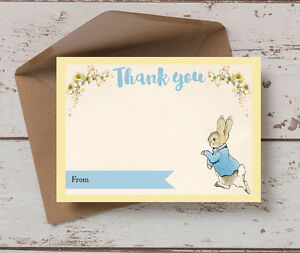 Pack of 10 Peter Rabbit Childrens Kids Birthday Thank You Cards & Envelopes