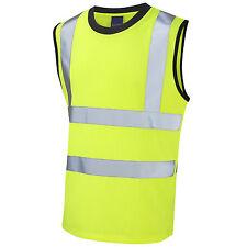 Leo Workwear Hi Vis Sleeveless Yellow T-Shirt Vest Top Tank Muscle Viz EN471