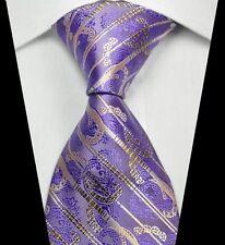 Cravatta da Uomo Vendita-Viola Cachi Marrone Oro-Regalo Floreale Paisley Matrimonio Lavoro a righe