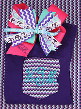 Personalized Embroidered Chevron Purple Tee Shirt Monogram and Chevron Pink Bow