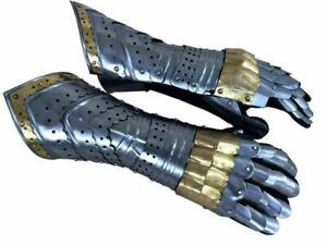Gauntlet Gloves Armor Pair w/ Brass Accents Medieval Knight Crusader Steel Glove