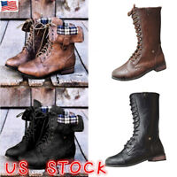 Women Lace Up Leather Combat Biker Boots Ladies Flats Low Heel Shoes Ankle Boots