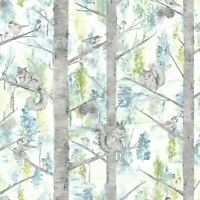 HOLDEN SQUIRREL WALLPAPER TEAL 90752 - NEW