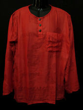Sh1019 XL Unisex long sleeve Meditation Block Printed Summer Shirt Kurta Nepal