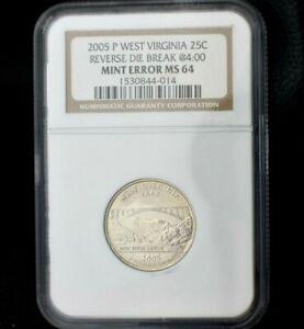2005-P West Virginia Statehood Quarter graded by NGC MS64~Reverse Die Break~CUD~