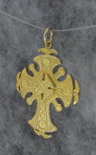 "Old Hutsul 3D Cross Pendant, Regular Brass, 1 3/4""X 1 1/4"", Medium"