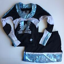 Dehen Cheer Uniform Shimmery Blue Youth Long Sleeve Top S Skirt Child Size 2