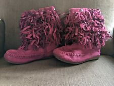 Size 11 - Little Girl Dark Pink / Purple Fringe Faux Suede Sonoma Boots