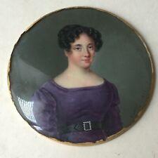 Miniature XIXè Portrait de Femme Signée c1826