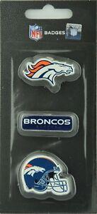 NFL Football Denver Broncos 3 Piece Badge Pin Set With Helmet Logo