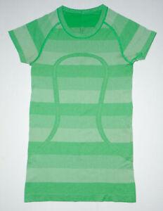 LULULEMON Fitness RUN SWIFTLY T-Shirt GREEN Striped Crewneck Running Yoga sz 4