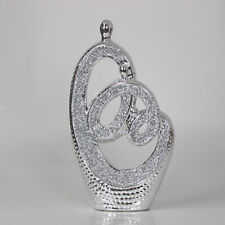 24cm Silver Sparkle Sculpture Diamante Art Statue Indoor Home Decor Ornament New