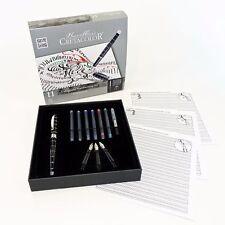CRETACOLOR Kalligraphie Set, 11-tlg. Metallfüllhalter mit 3 versch. Federbreiten