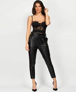 Womens Black PVC Shiny High Waist Belted Paper Bag Ankle Length Trousers Pants