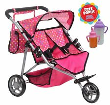 Exquisite Buggy, Twin DOLL Jogger Stroller with Diaper Bag, PINK / POLKA DOTS