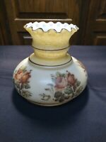 """Vintage milk glass shade hand painted flowers GWTW Hurricane lamp 7"""" fitter"""