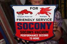 Standard Oil Socony Friendly Service Gasoline Gas Station Porcelain Metal Sign