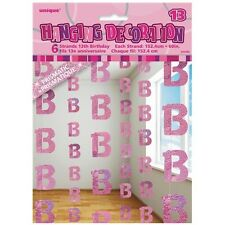 Pink Glitz 13th Birthday Hanging Decorations Pack 6 5ft Strands Unique Party