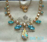 VINTAGE AQUAMARINE +  AURORA BOREALIS CRYSTAL TEAR DROP RHINESTONE  NECKLACE