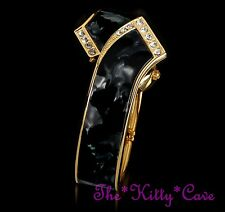 Vintage Art Deco Gold Plated Crystal Black Pearl Slider Hinged Bangle Watch Cuff