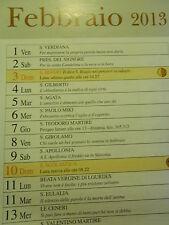 CALENDARIO 2013-RUTILIO IL GOBBO DELLE PUGLIE-curiosità errore DOPPIO 11 FEBBRAI